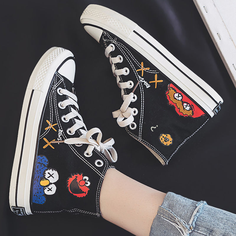 Cartoon Printed Canvas Sneakers Women Fashion Casual Vulcanized Flat Trainers Shoes Women Platform High Top Sneakers Espadrilles
