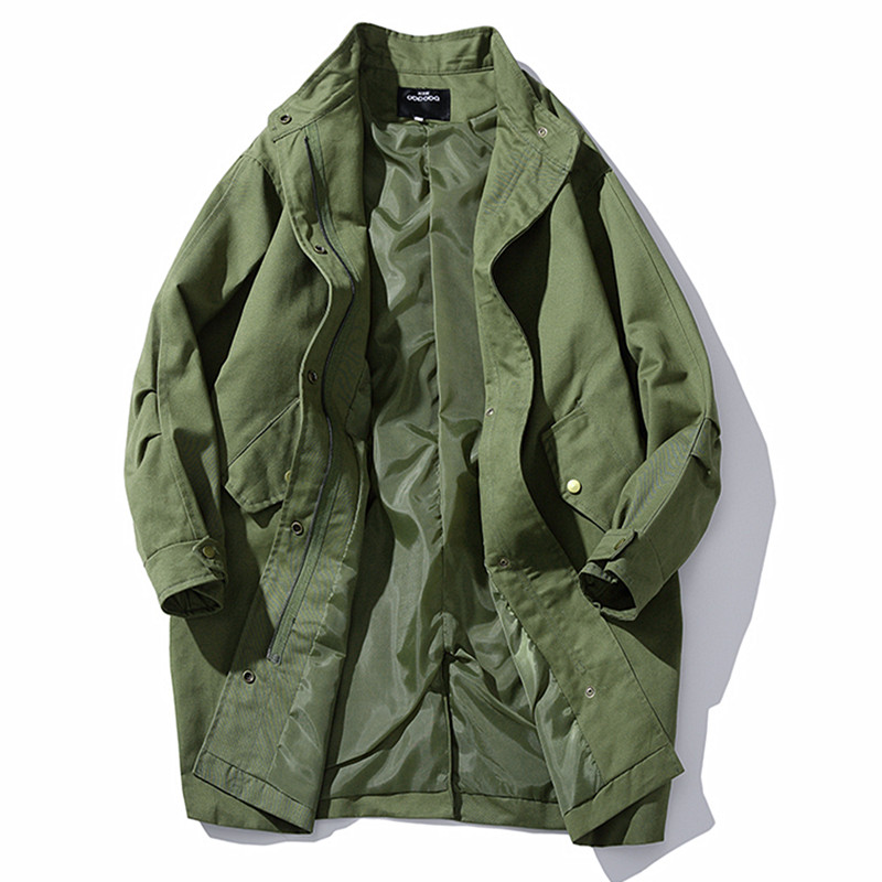 Men's Windbreaker Loose Solid Color Tooling Long Section Windbreaker Army Green Spring And Autumn New Plus Size Windbreaker Coat