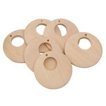 50 pçs 40mm criativo inacabado anel brinco de madeira natural pingente madeira sólida inacabado manual pintura bonecas diy artesanato