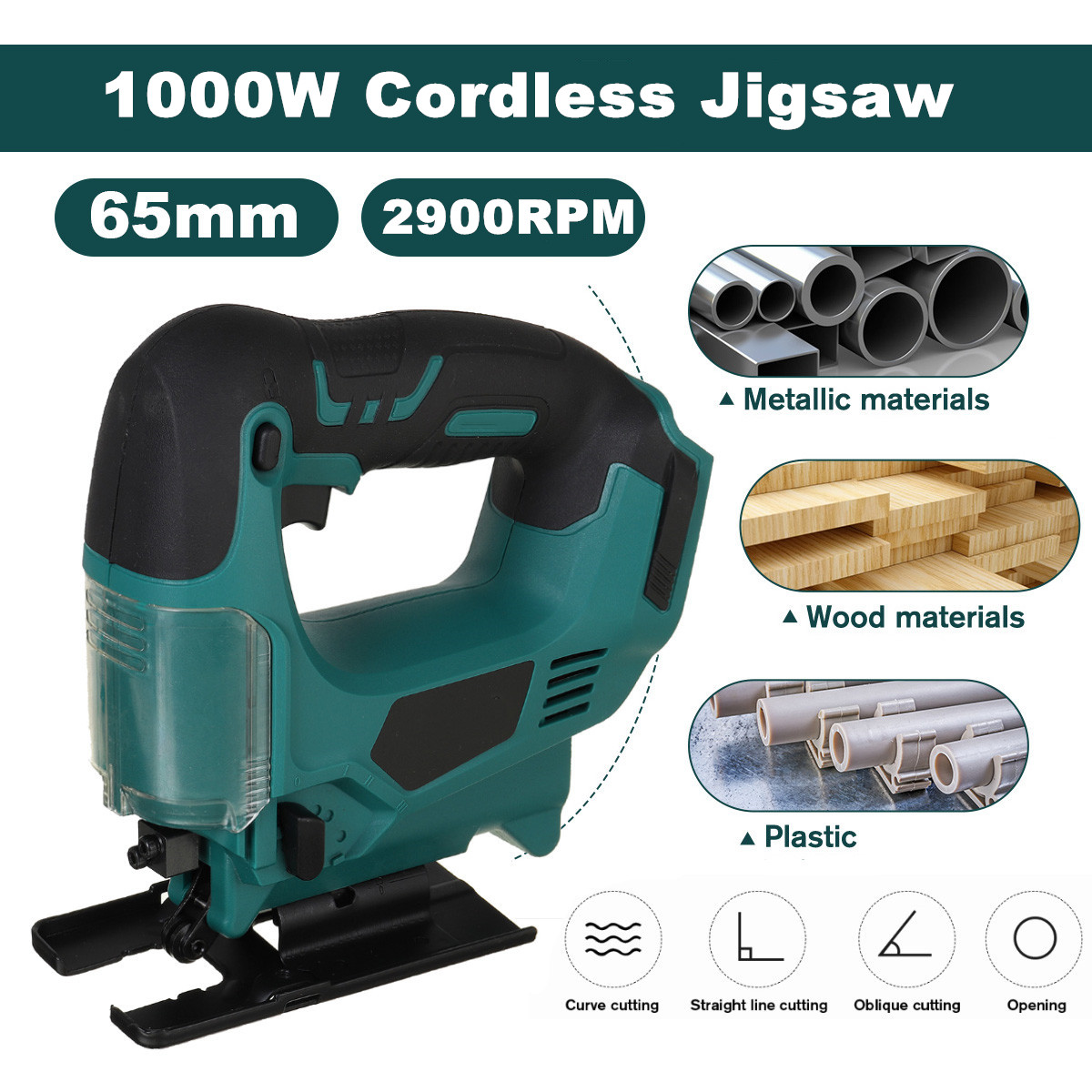 21V 65mm 2900RPM Cordless Jigsaw Electric Jig Saw Multi-Function Wood Iron cutting Electric Saws for Makita 18V 21V Battery
