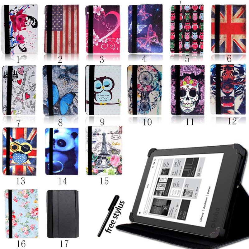 KK&LL For Kobo Glo HD/Kobo Touch 6/Touch 2.0 (2015) eReader Tablet - Leather Tablet Stand Folio Smart Cover Case + Stylus image
