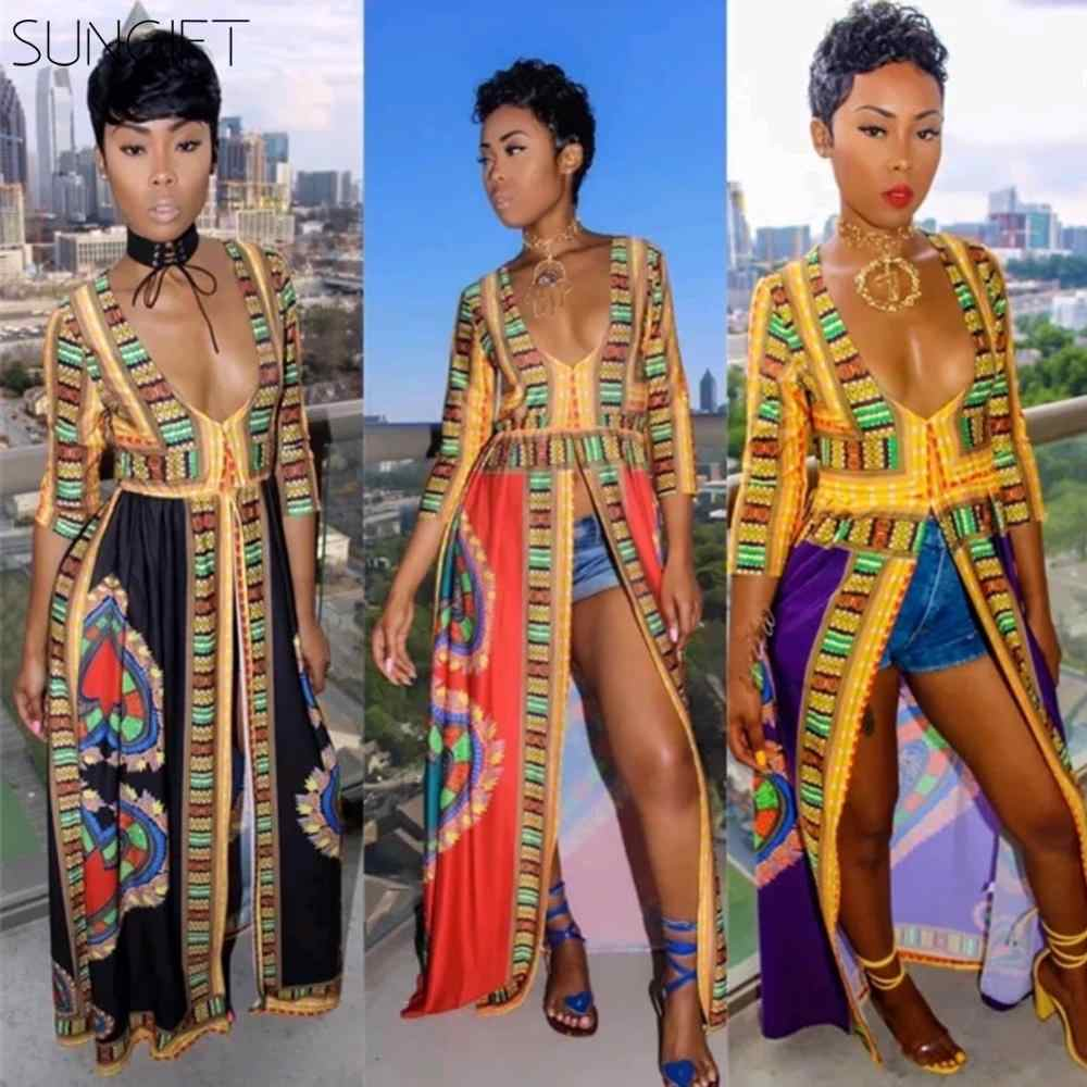 Sungift Châu Phi Đầm Kiểu Thời Trang Nữ Dashiki Nữ Gợi Cảm Cổ V Sâu Lọt Khe Cao Cấp Phi Dân Tộc Dài Đầm Maxi clubwear