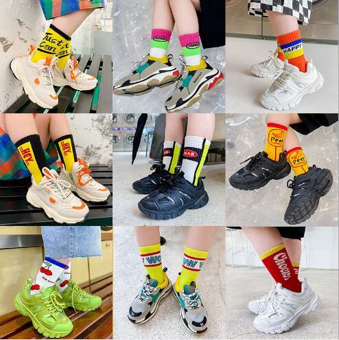 3-12Year 4Pairs Pack Children Socks Autumn Letters Street Sports Style Personality Kids Boy Girls Cartoon Kids Tube Socks 5
