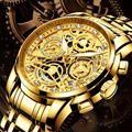 NEKTOM Брендовые мужские наручные часы кварцевые роскошные золотые мужские часы 316L из нержавеющей стали Водонепроницаемые многофункциональн...