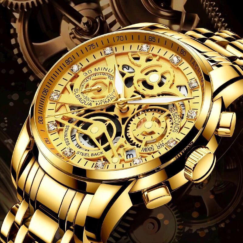 NEKTOM Brand Mens Wristwatches Quartz Luxury Gold Man Watches 316L Stainless Steel Waterproof Multifunction Citizen Movement