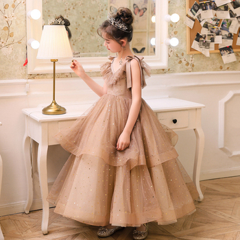 Princess Little Girl Dresses Ball Gown Vestidos Comunion Bow Floor Length Organza Kids Wedding Party Flower Girl Pageant Dresses baby blue knee length open back long sleeves organza flower girl dresses with bow baby birthday party gown with pearls crystals