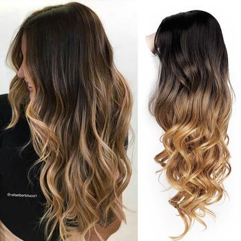 SUe wykwintne peruki syntetyczne dla kobiet blond Ombre długie faliste środkowe syntetyczne peruki damskie naturalną linią włosów pełne peruki tanie i dobre opinie SUe EXQUISITE Wysokiej Temperatury Włókna long Falista 1 sztuka tylko Średnia wielkość