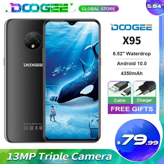 Doogee teléfono inteligente X95, teléfono móvil con pantalla de 6,52 pulgadas, Android 10, 4G LTE, cámara Triple de 13.0mp, 2GB RAM, 16GB ROM, procesador MTK6737, batería de 4350mAh