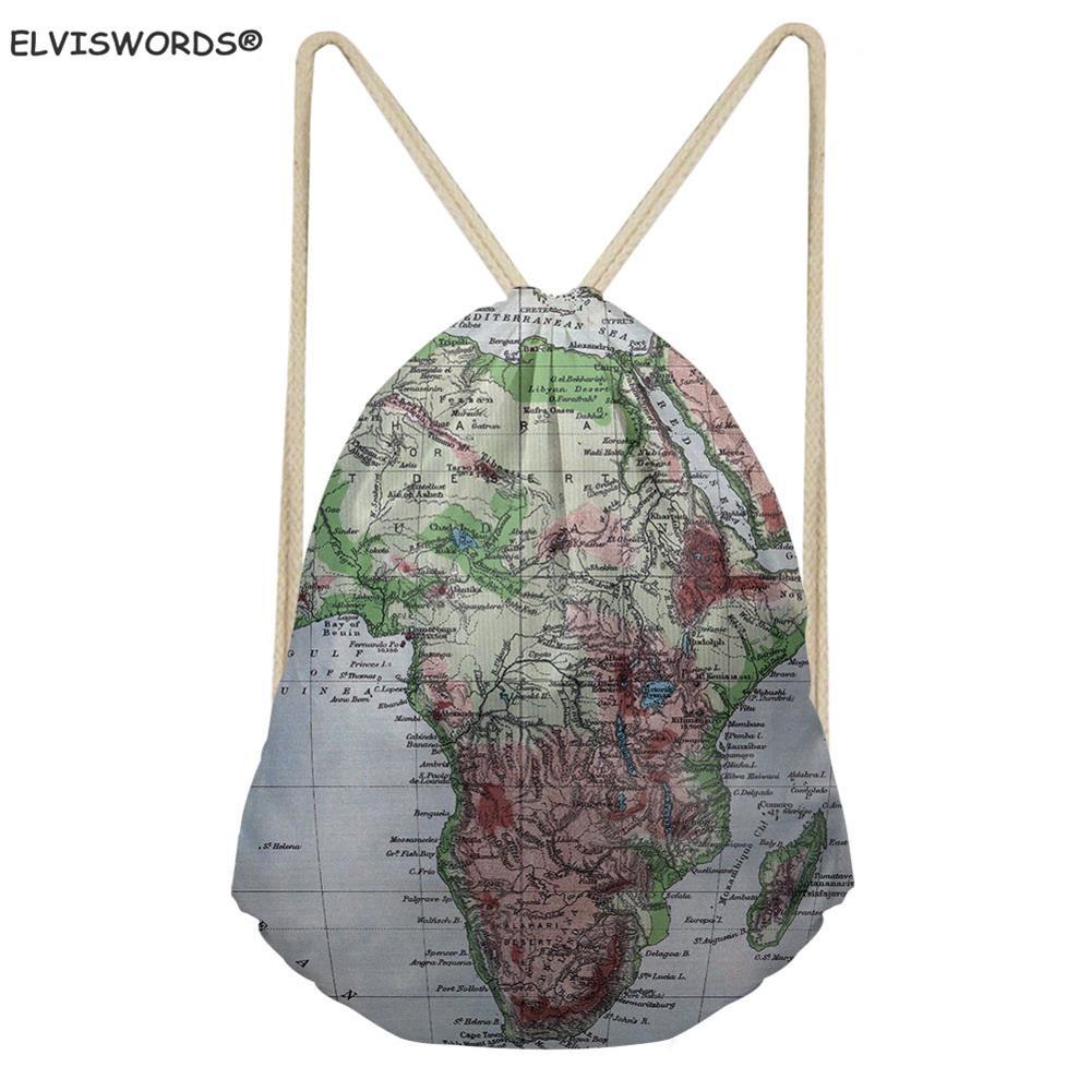 ELVISWORDS Women Men Drawstring Backpack World Map Print Shoulder Bag Kid Travel Softback Boy's Gym Bag Feminina Daily Mochila