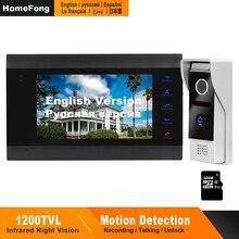 Homefong Video kapı zili kapı telefonu kapı zili 1200TVL geniş açı kamera güvenlik Video interkom kapı zili resim Video kayıt