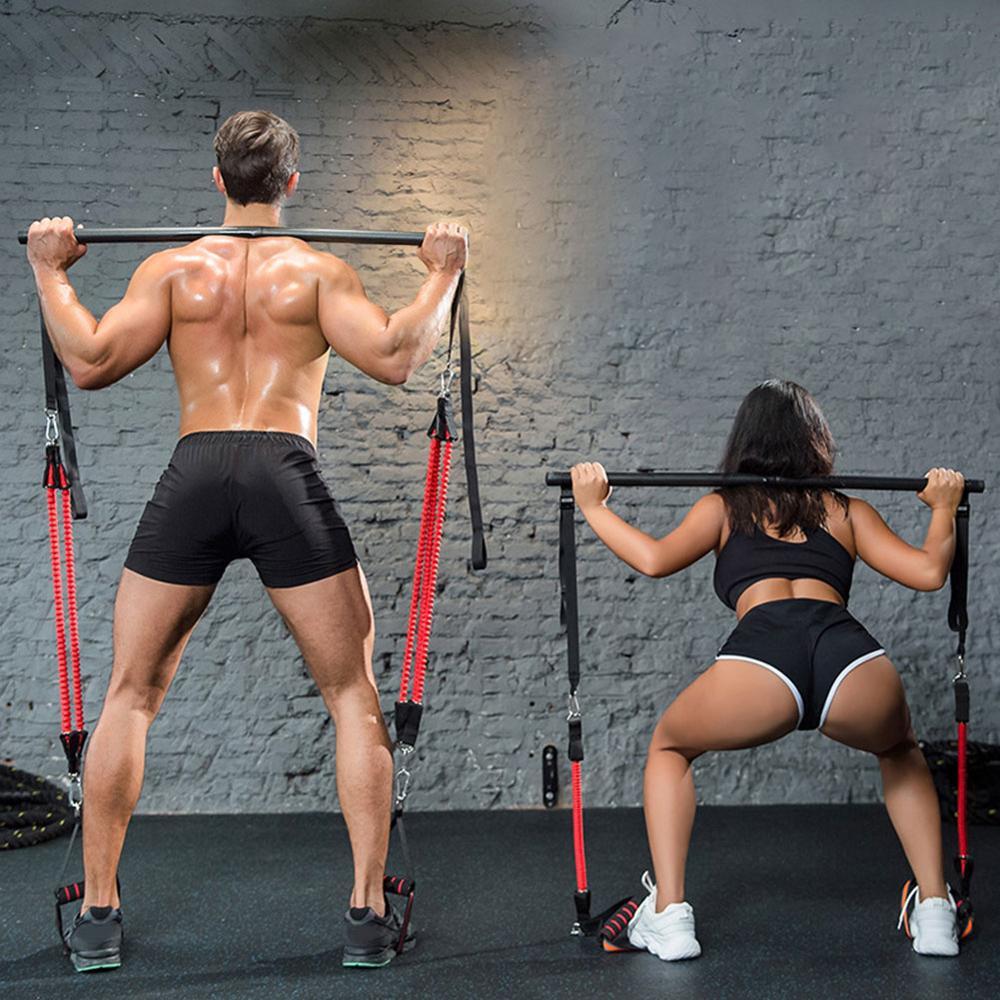 Fitness Rod Resistance Band Assemble Resistance Bar With Adjust Belt,Portable Home Gym Pilates Bar System Full Body Workout Equi