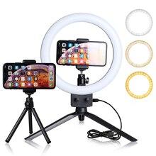 Anillo de luz Led para fotografía y Selfie, 9 pulgadas, para Youtube, maquillaje, vídeo en vivo, con trípode para teléfono