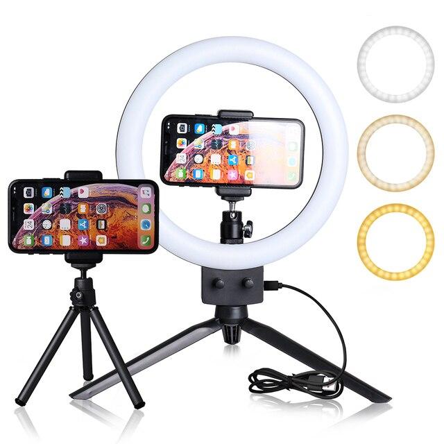 Ledリングライト 9 インチの写真撮影selfieリングランプyoutubeのメイクライブビデオライト三脚電話