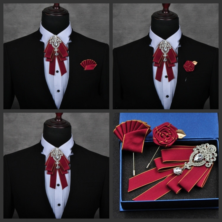 Korean Trend Bow Tie Groom Necktie Brooch Best Man Wedding Fashion Crystal Pendant Red Bow Ties For Men Formal Wear Black Bowtie