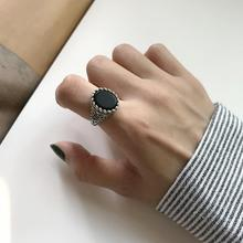 Filluck Real 925 Sterling Silver Ring Natural Onyx Vintage Opening Rings Mens Fine Jewelery