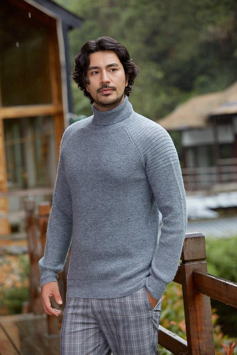 Zhili Men's Simple Style Turtle Crowl Neck Merino Wool Sweater