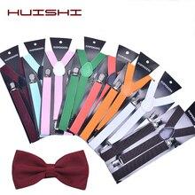 HUISHI Suspenders Bow Tie Plain Black Suspenders For Men Navy Red Burgundy Solid Braces Unisex Strap Women Suspenders Bow Tie