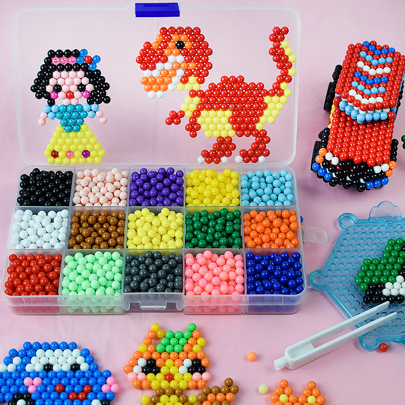 1800pcs Children Beads For Kids 400pcs/box Water Beads Boxed DIY Pegboard Kit Creative Handmade Beautiful Kids For Girls Gifts