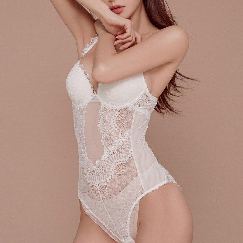 French Bodysuit Women Sexy Lace Push Up   Bra     Set   Ultrathin Corset Sleepwear Transparent Backless Plus Size Onesies Panties   Set