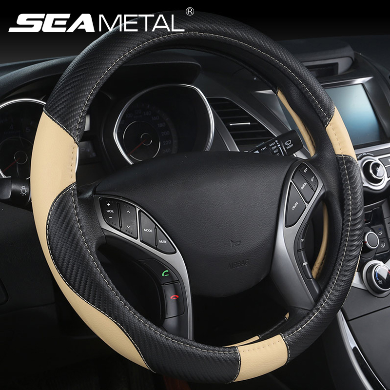 Car-styling Steering Wheel Cover Carbon Fiber Leather 37-38CM Cars Wheel Covers Anti Slip Breathable Universal Auto Accessories title=