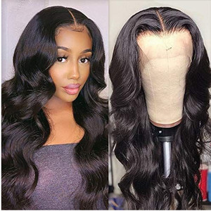 Middle Part Lace Front Wig 20cm-45cm Body Wave Lace Part Wig 150% Brazilian Remy Hair perruque cheveux humain pas cher For Women(China)