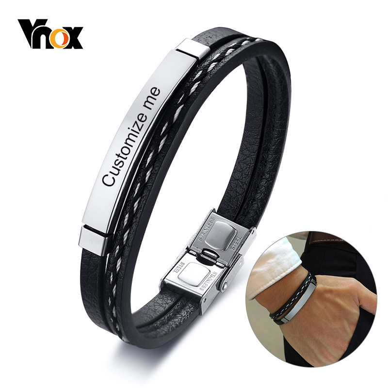 Vnox Multi Layer Leather Bracelets for Men Women Customizable Engraving Stainless Steel Personalize Casual Bangles Amazing Price