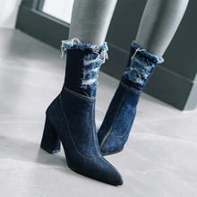 WETKISS Denim Thick High Heels Women Boots Holed Ankle Boot 2020 New Fashion Pointed Toe Lady Shoes Ripped Summer Footwear цены онлайн