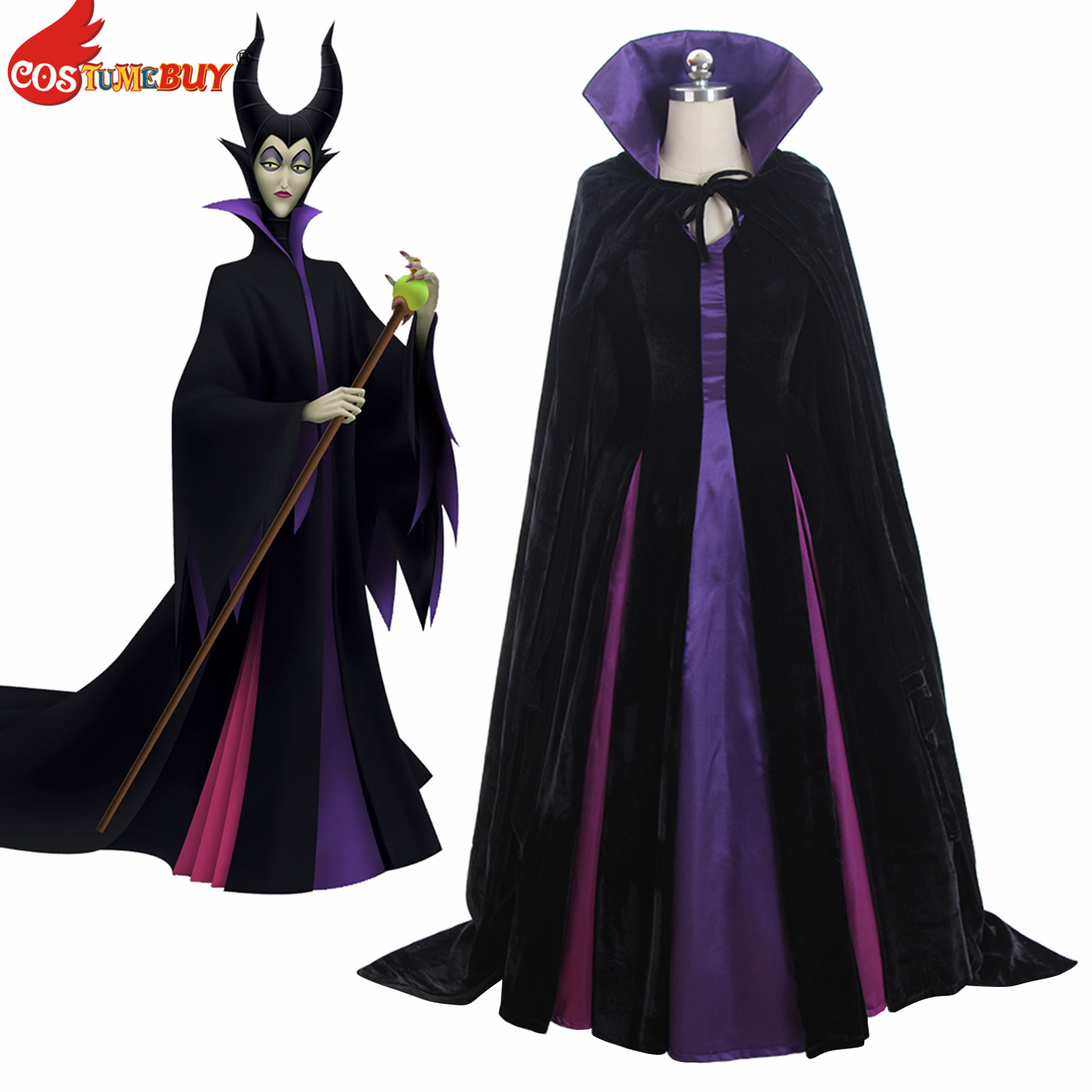 Costume Maleficent Costume maléfique reine du mal Cosplay robe tenue dames fantaisie robe femmes Halloween Costume de fête sur mesure