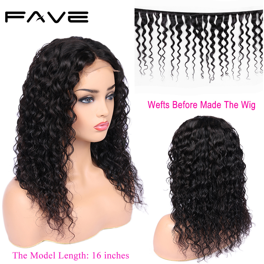 FAVE 4x4 Lace Closure Human Hair Wigs Brazilian Remy Water Wave Wigs L/M/R Part 150% Density For Black Women Fast Shipping