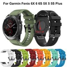 กีฬาสายนาฬิกาซิลิโคนสายรัดข้อมือสำหรับGarmin Fenix 6X 6 6S Pro 5X 5 5S PLUS 3 HR 20 22 มม.Fit QUICK RELEASEสปอนเซอร์ 26 มม.