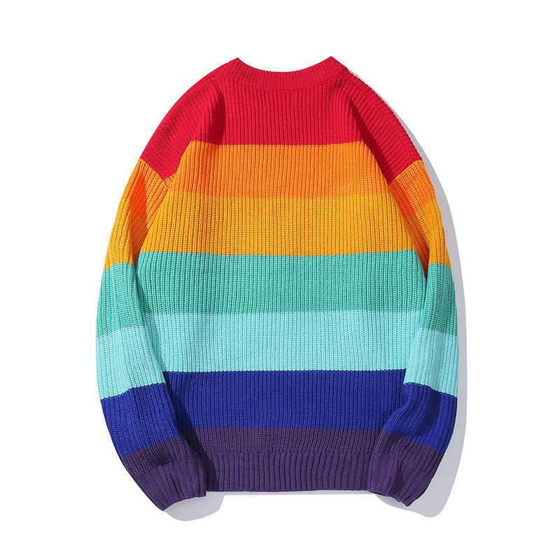 רקמת סוודר סוודרים גברים צבע בלוק טלאים ארוך שרוול סוודר היפ הופ Streetwear סורג זכר R1970