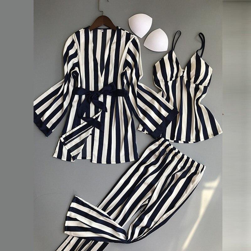 Женские пижамные комплекты из 3 предметов, модные топы на бретельках, атласная одежда для сна, женский длинный рукав в полоску, летняя Домашняя одежда, Пижама