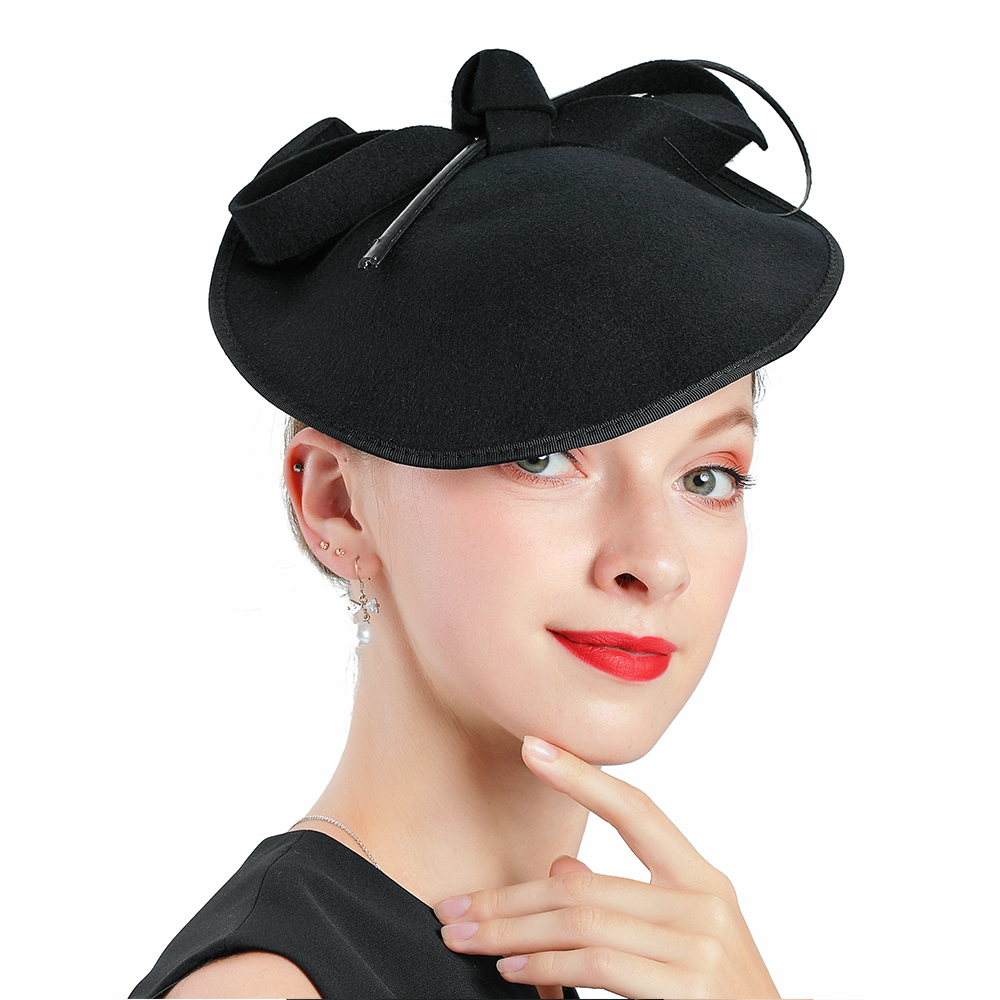 Fascinators For Women Elegant Church Hats Wool Bow Irregular Black Wedding Fedora Hat Banquet Tea Party Cap