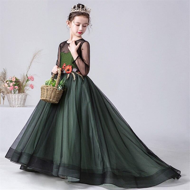 2019 Luxury New High-Grade Girls Children Elegant Evening Party Holiday Princess Long Tail Dress Kids Model Show Costumes Dress