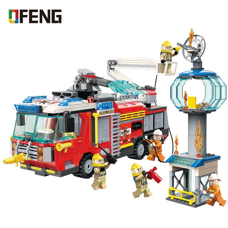 Éclairer la ville briques de Police pompier échelle de sauvetage camion pulvérisation d'eau voiture Train blocs de construction ensembles enfants jouets cadeaux