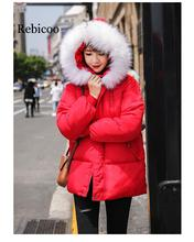 Women's winter zip pocket jacket jacket female casual warm with fur hooded jacket ladies thick padded jacket drawstring zip pocket faux fur hooded flocking jacket