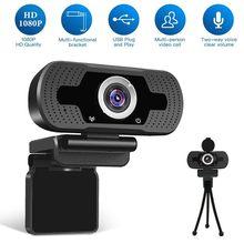 Hd 1080p webcam mini computador pc webcamera com microfone câmeras rotatable para transmissão ao vivo vídeo chamando conferência trabalho