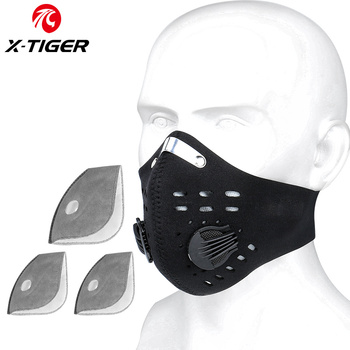 X-TIGER Cycling Face Mask PM 2.5 Bike Mask Activated Carbon Breathing Valve Sports Masks With Anti-Pollution Filter 10