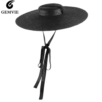 цена на GEMVIE 4 Color Wide Brim Flat Top Straw Hat Summer Hats For Women Ribbon Beach Cap Boater Fashionable Sun Hat With Chin Strap