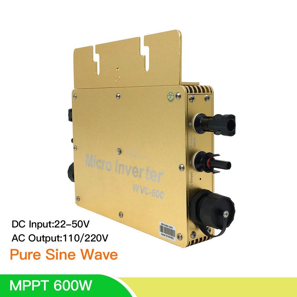 Micro Solar 600W Inverter Reine Sinus Welle MPPT Auf Grid Tie Inverter Single Drei Phase Verbindung für 2*300W Solar Panel