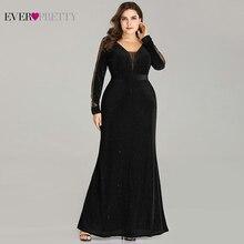 プラスサイズのイブニングドレスロング今までかなりEP07394エレガントなスパークルマーメイドvネックベルベット長袖ブラック結婚式のゲストドレス