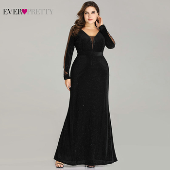 Plus Size Evening Dresses Long Ever Pretty EP07394 Elegant Sparkle Mermaid V-neck Velvet Long Sleeve Black Wedding Guest Gowns plus size prom dresses 2020 ever pretty ep08838 elegant mermaid lace sleeveless v neck long party gowns sexy wedding guest gowns