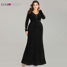 Plus tamanho vestidos de noite longo sempre bonito ep07394 elegante brilho sereia com decote em v veludo manga longa casamento preto convidados vestidos