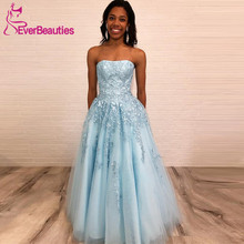 Light Blue A-Line Long Prom Dresses Strapless Lace Appliques 2019 Formal