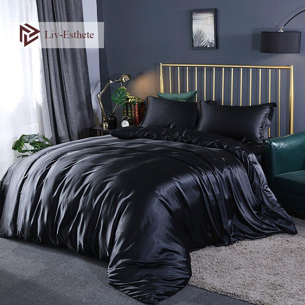 Liv-esthete luxe noir soie parure de lit soyeux drap plat taie d'oreiller doux reine roi housse de couette ensemble linge de lit ensemble pour adulte