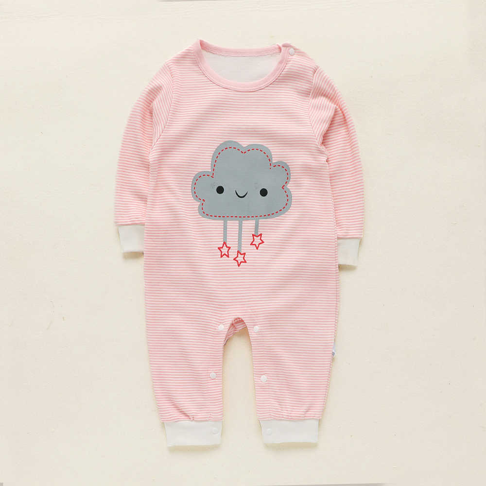 Patpat Musim Semi Musim Gugur Kapas Baru Lahir Kartun Pola Bulan Cloud Bintang Bergaris Jumpsuit untuk Bayi Laki-laki Bayi Perempuan Merangkak Suit