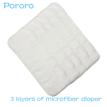 [Pororo]Free Shopping 1 Pc Washable reuseable Baby Cloth Diapers Nappy inserts microfiber 3 layers  Size:13.5*35cm