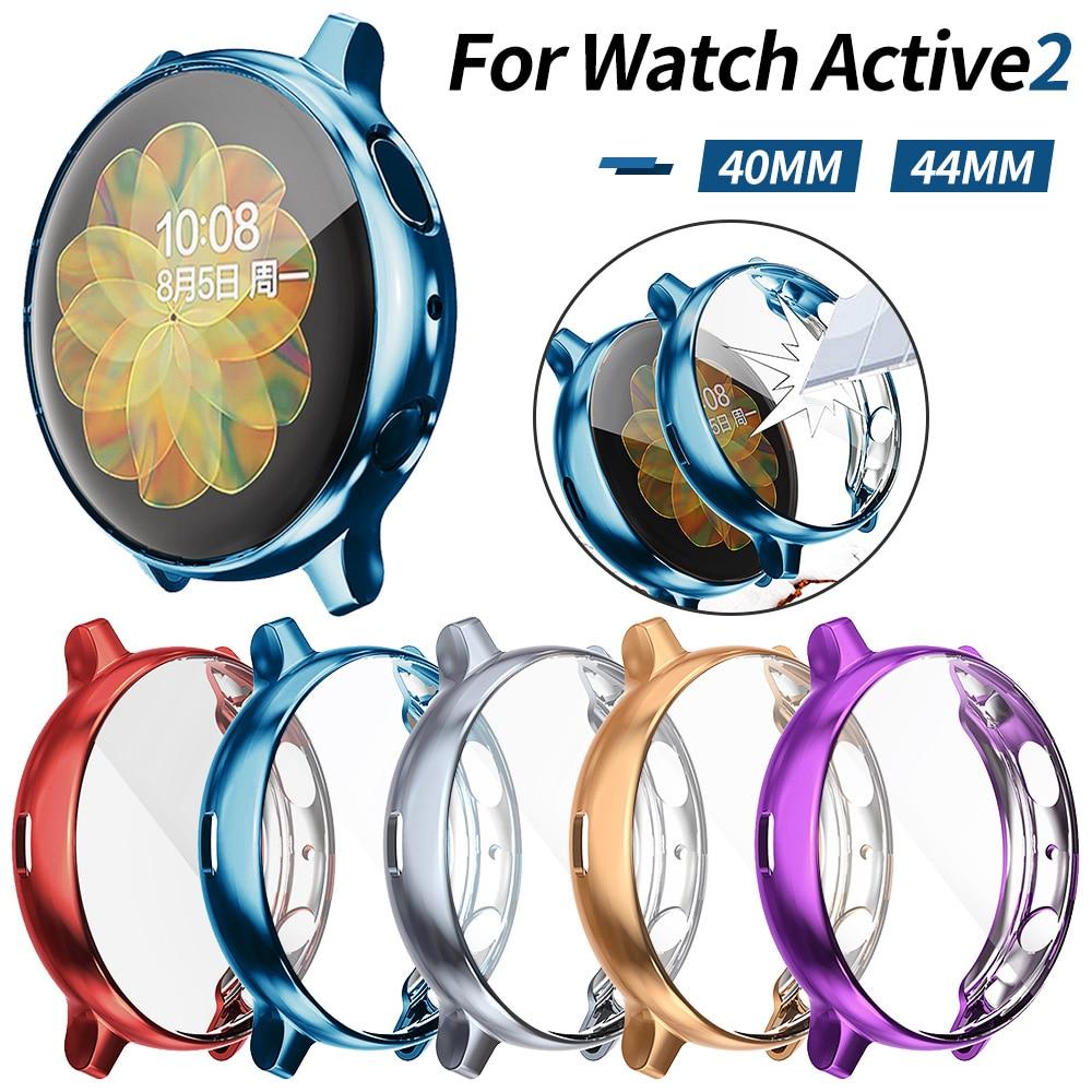 Мягкий чехол для Samsung Galaxy Watch Active 2, чехол 40 мм 44 мм Active2, защитная оболочка для экрана, легкий тонкий бампер из ТПУ, аксессуары