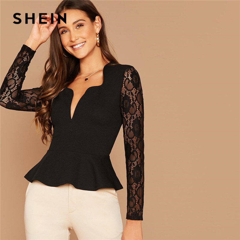 SHEIN Black Notch Neck Sheer Lace Sleeve Peplum Top Women Autumn Solid Elegant Office Ladies Slim Fit Ruffle Blouses 1