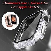 Fall + Gehärtetem Glas für Apple Uhr 44mm 38mm 40mm 42mm Volle Rhinstone Bumper Shell für iWatch Serie 6 SE 5 4 3 2 PC Abdeckung